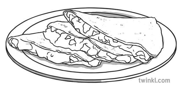 Quesadillas Black and White Illustration.