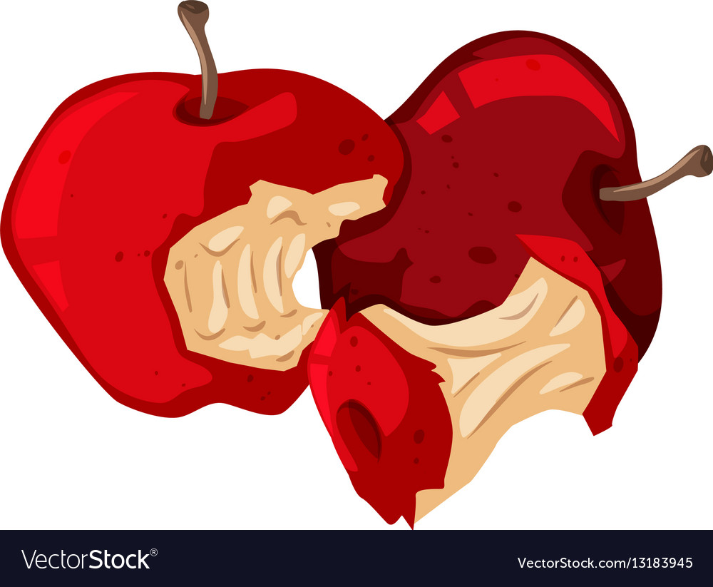 Rotten red apples on white.