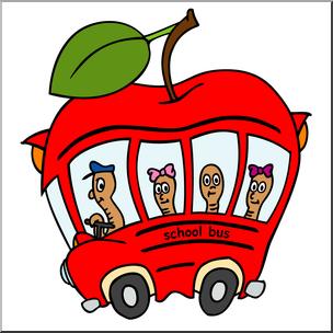 Clip Art: Apple School Bus Color 3 I abcteach.com.