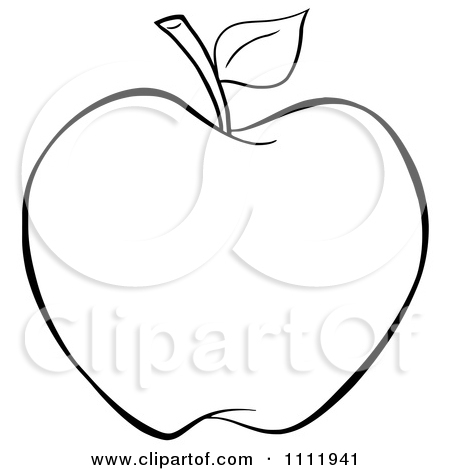 Clipart Outlined Apple.