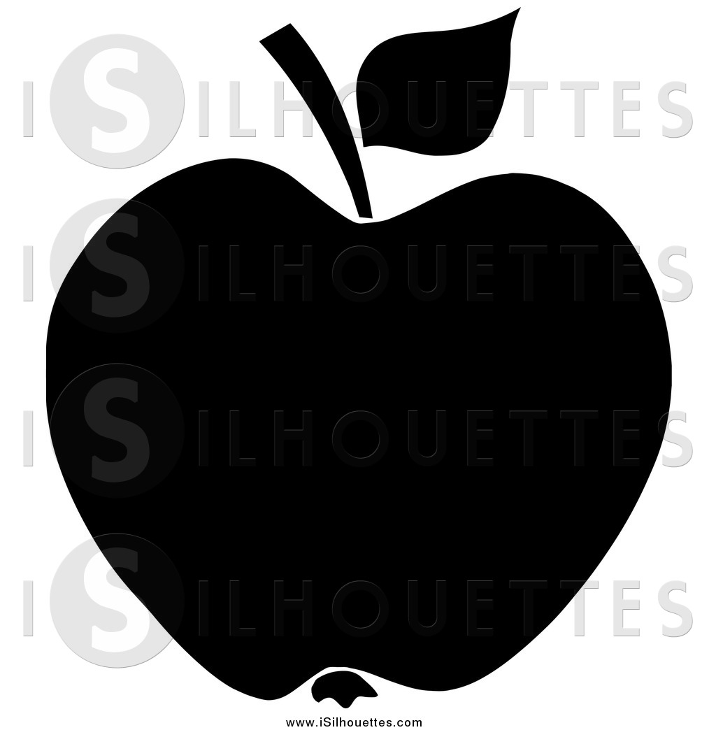 Clipart of a Black Apple with Leaf and Stem.
