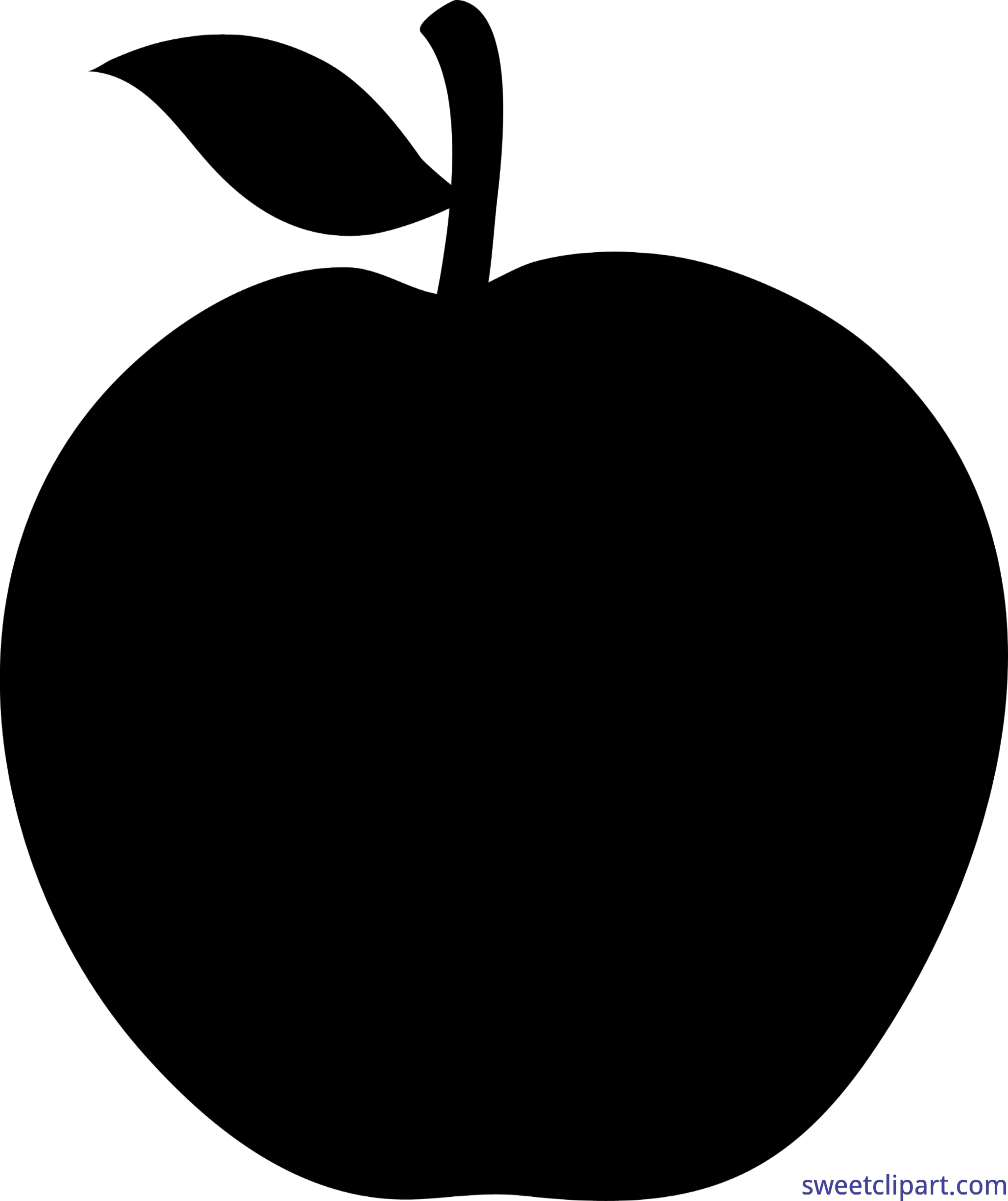 Apple Black Silhouette Clip Art.