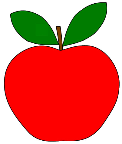 red apple with 2 leaves clipart sketch, op lge 12cm.