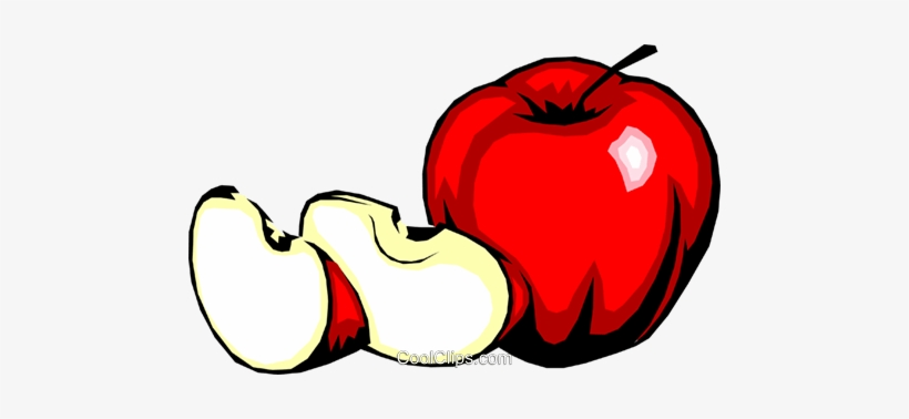 Apple With Slices Royalty Free Vector Clip Art Illustration.