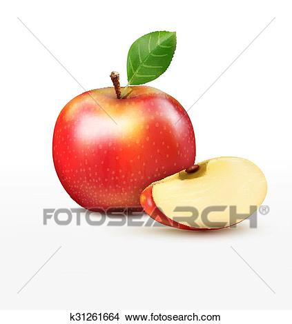 Vector ruddy apple with apple slice Clipart.