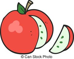 Apple slice clipart. Abstract retro comic apple slice vector.