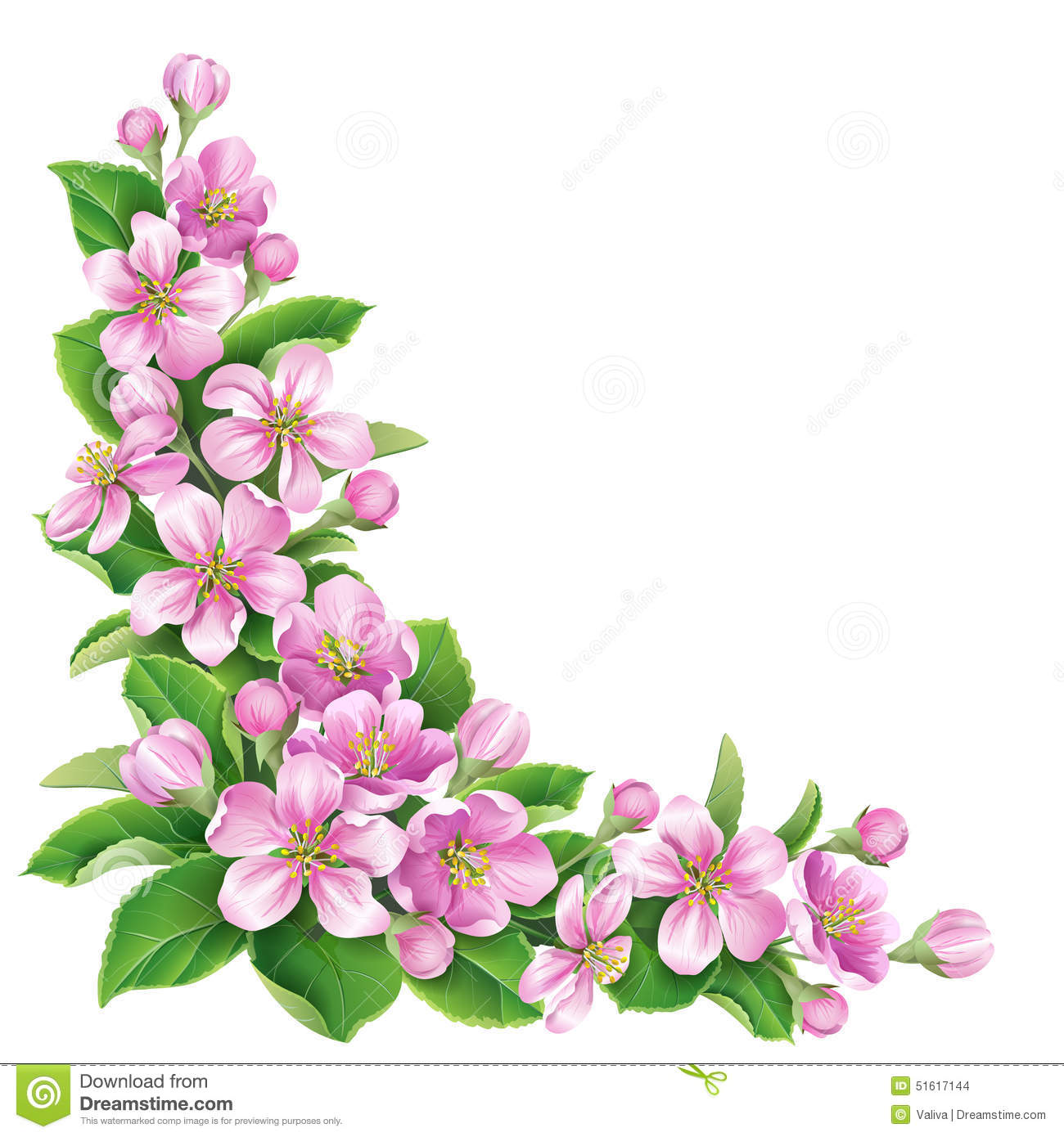 Blossoming Branch Stock Vector.
