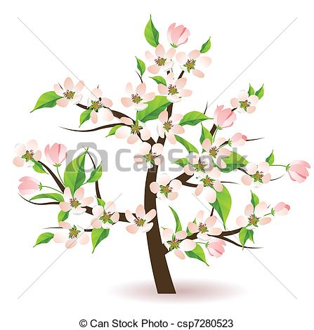 Vectors of Blossoming apple tree.