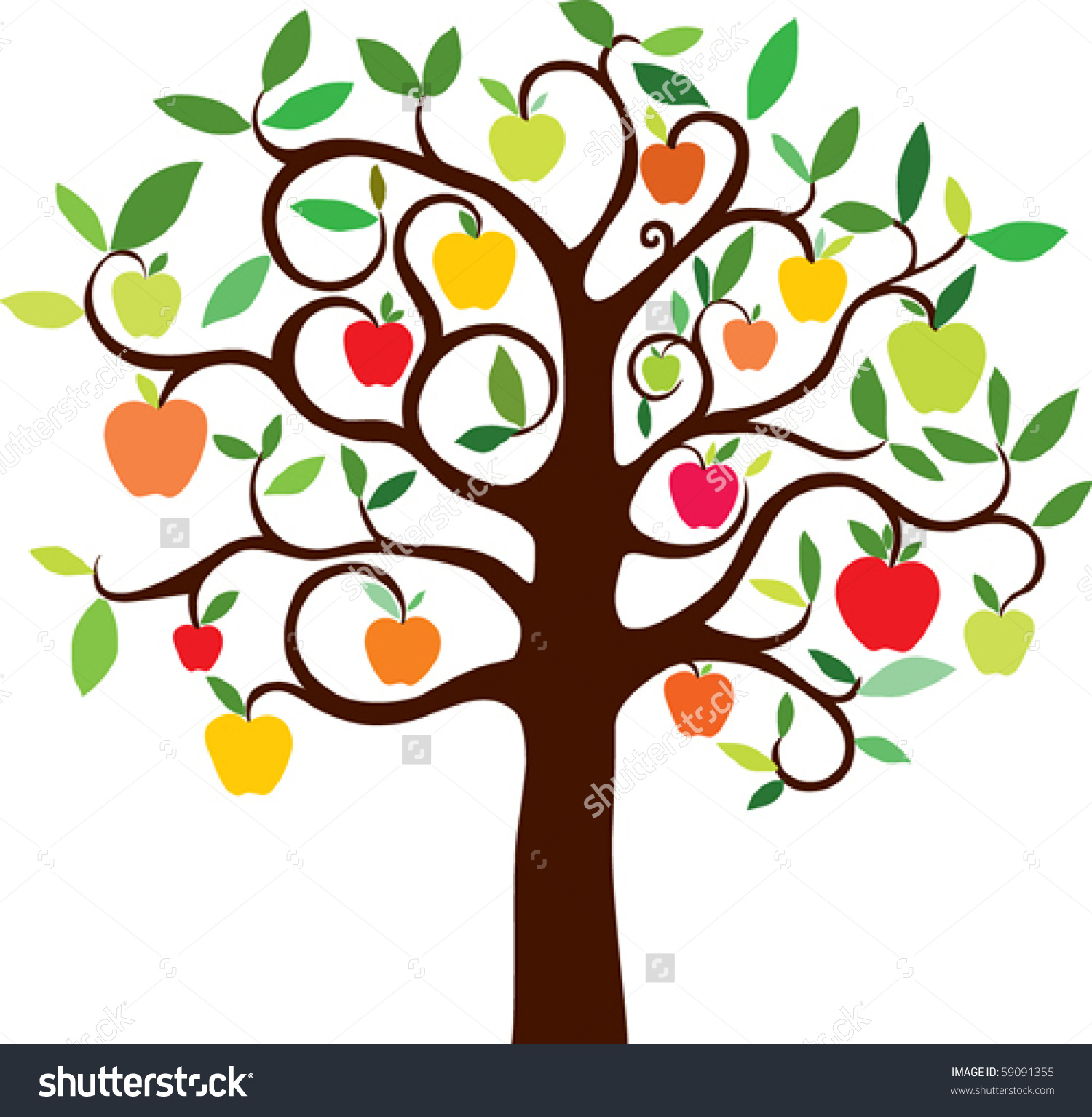 Bare apple tree clipart.