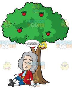 Isaac Newton Sitting Under An Apple Tree.