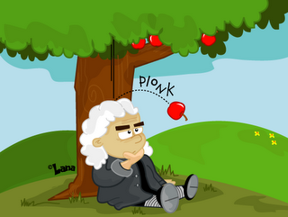 Issac Newton first thought up the idea of gravity when he.