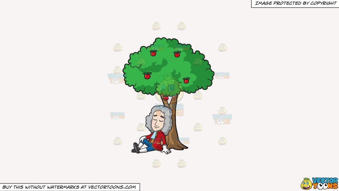 Clipart: Isaac Newton Sitting Under An Apple Tree on a Solid White Smoke  F7F4F3 Background.