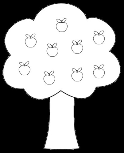 apple tree clipart to color, 14 cm.