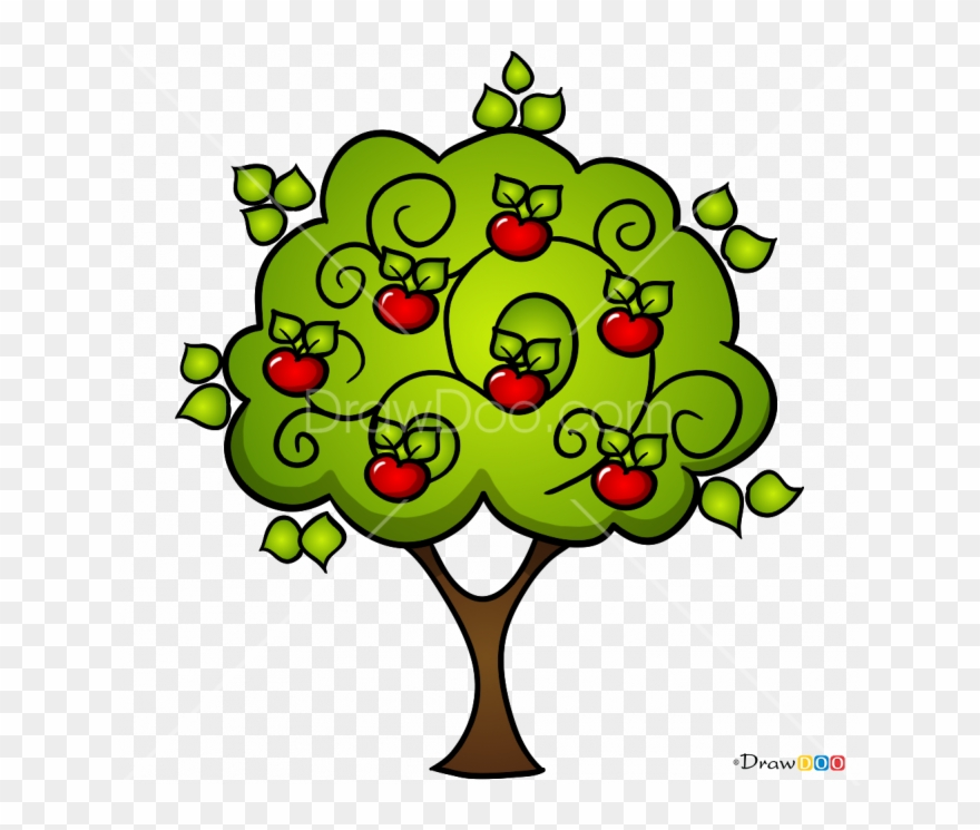 How To Draw Apple Tree, Trees.
