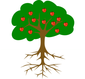 Apple Tree With Roots Clip Art.