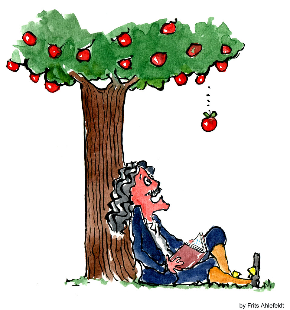 Newton under the apple tree waiting for the apple to fall.