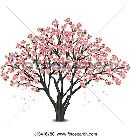 Clipart of Realistic sakura blossom.