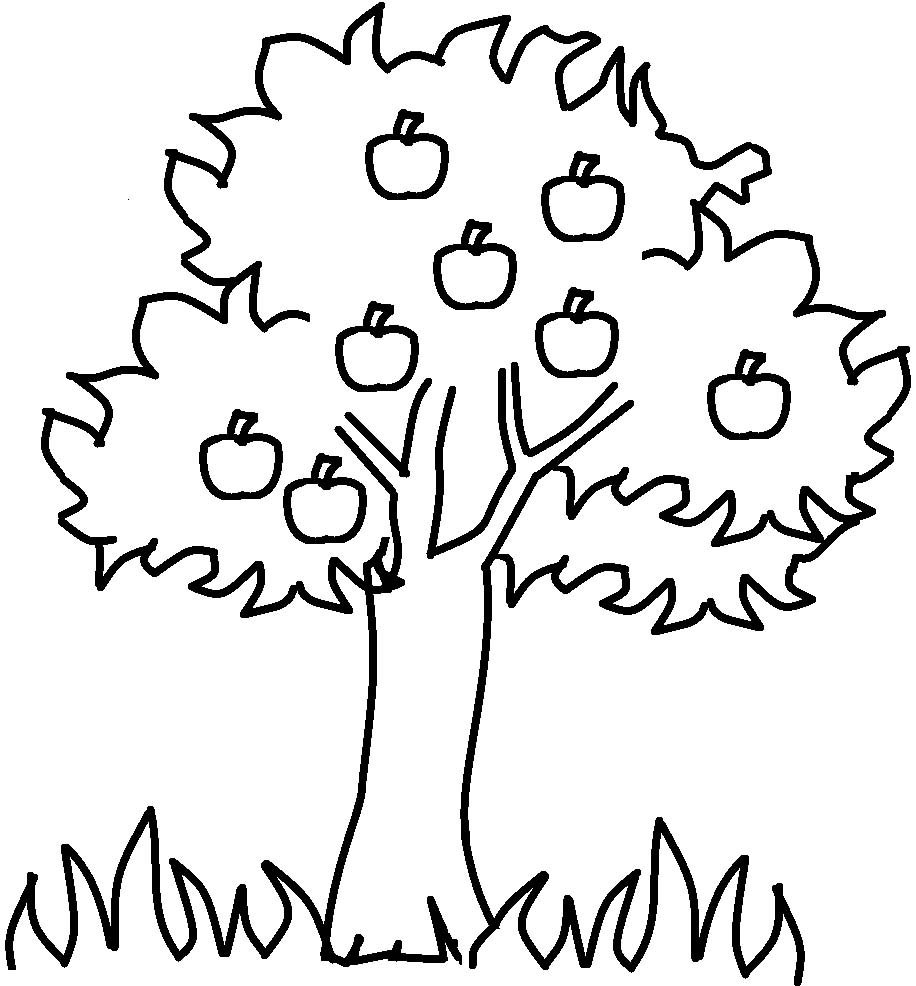 Apple tree with flowers clipart black and white.