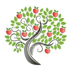 Apple Tree Royalty Free Stock Vector Art Illustration.