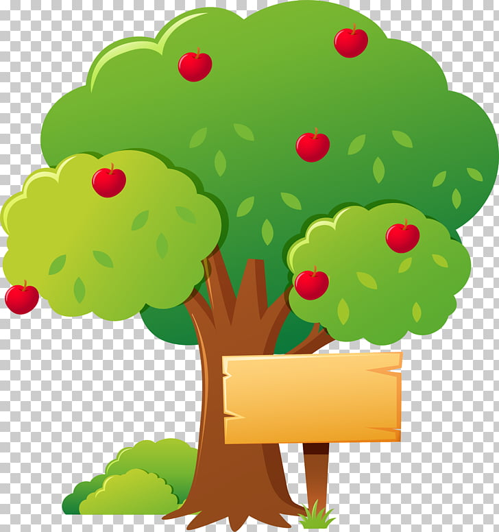 Apple Tree Illustration, Cartoon apple tree, apple tree.