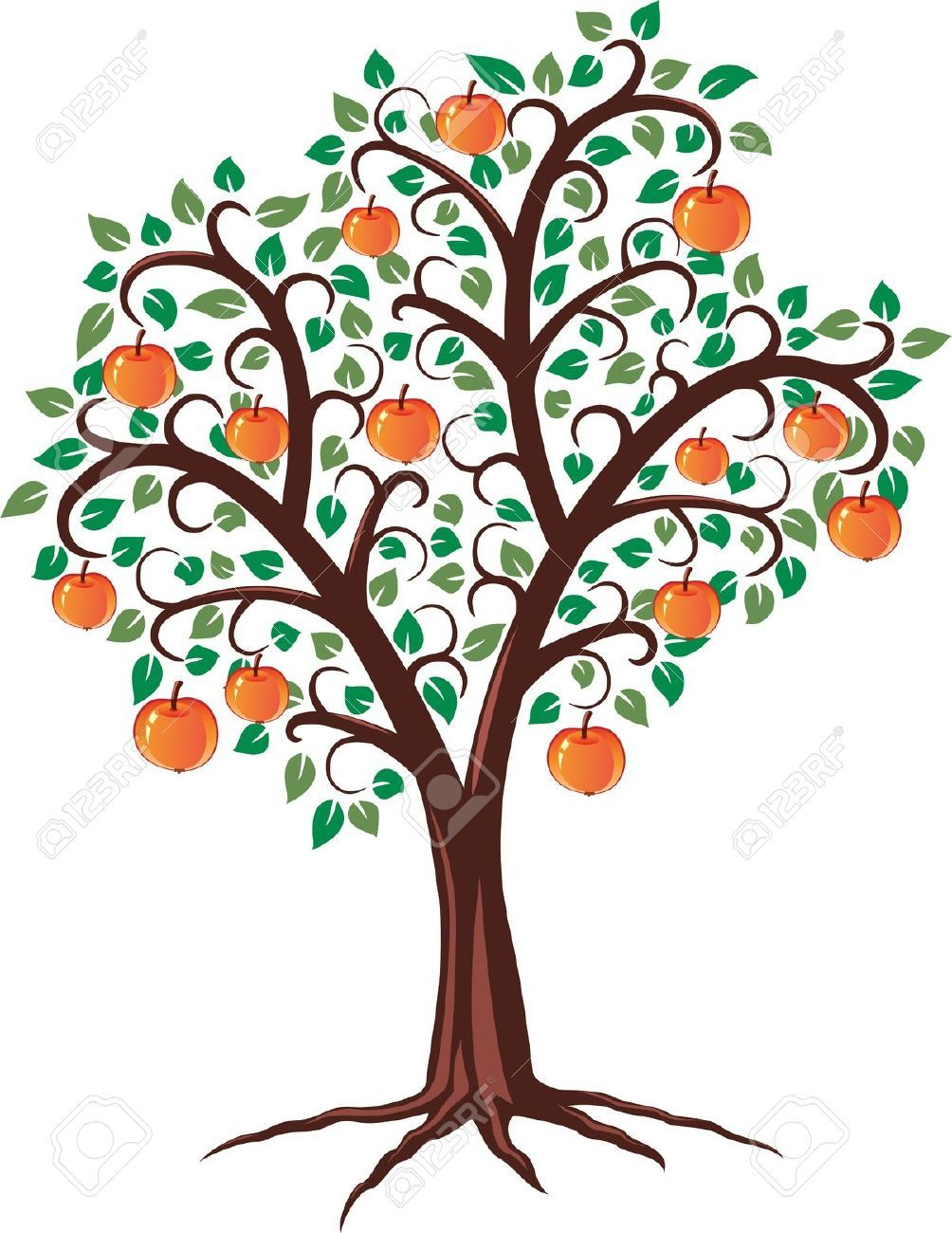 Free tree with fruits and roots clipart.