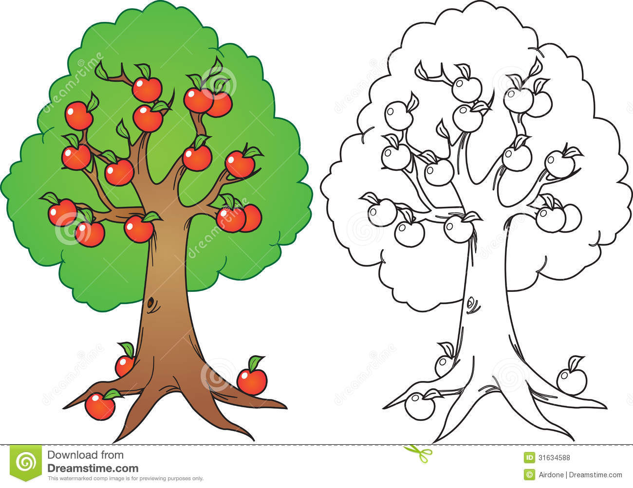 Apple trees clipart black and white.