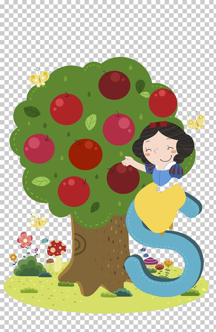 Snow White Apple Cartoon Illustration, Hand.