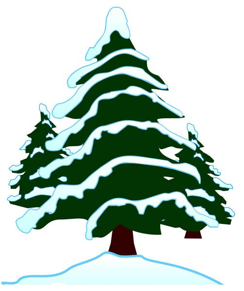 Snow Covered Trees Clipart.