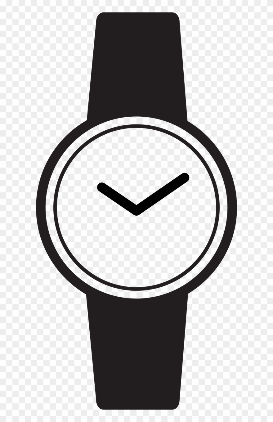 Watch Clip Black And White Svg Stock.