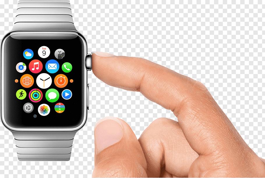 Person touching Apple Watch illustratio, Apple Watch User.