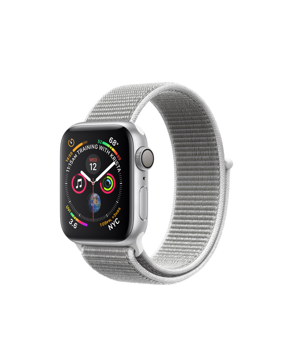 Apple Watch Series 4 GPS, 40mm Silver Aluminum Case with Seashell Sport Loop.