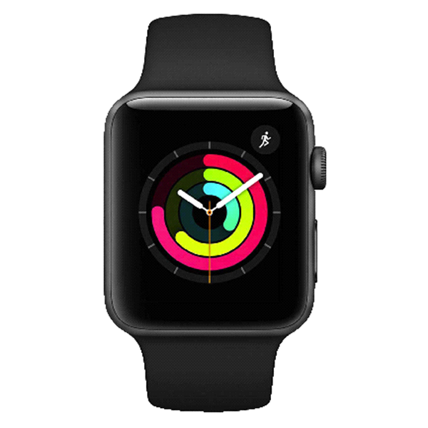 Apple Watch Series 3 GPS + CELL 42MM Space Gray with Black Sport Band.