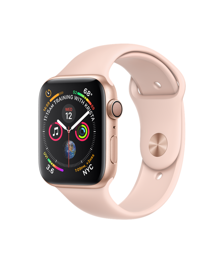 Apple Watch Series 4 GPS, 44mm Gold Aluminum Case with Pink Sand Sport Band.