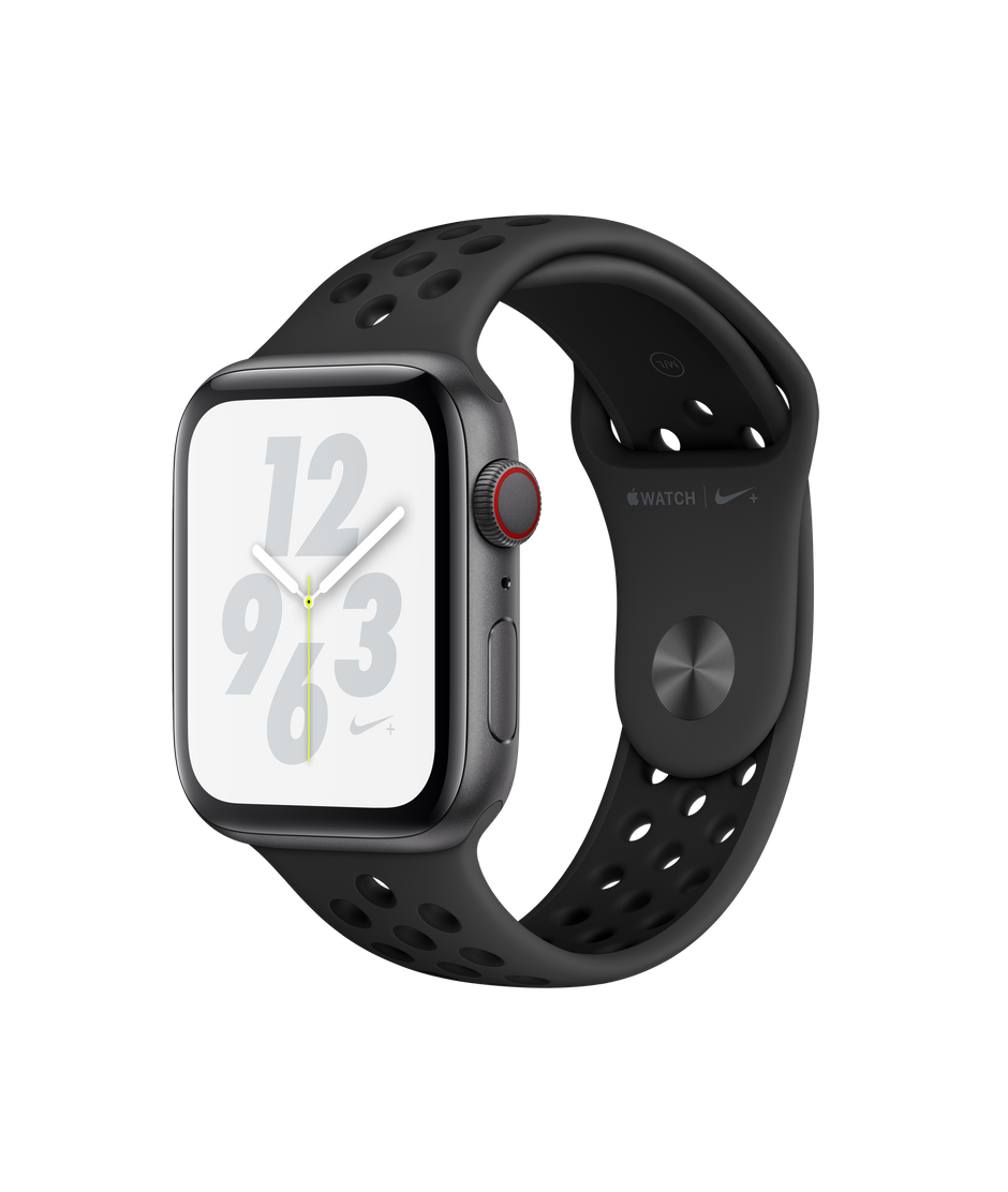 Apple Watch Nike+ Series 4 GPS + Cellular, 44mm Space Grey Aluminium Case  with Anthracite/Black Nike Sport Band.