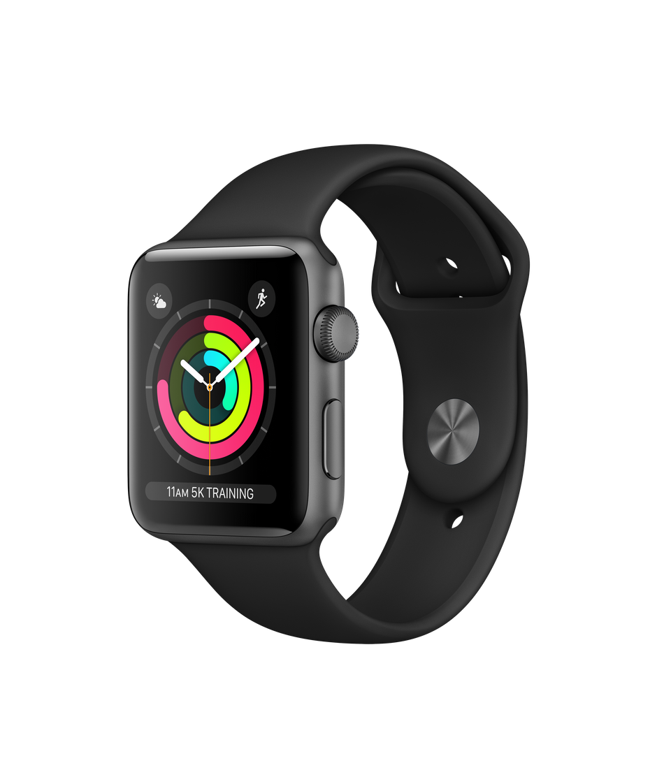 Apple Watch Series 3 GPS, 42mm Space Grey Aluminium Case with Black Sport  Band.