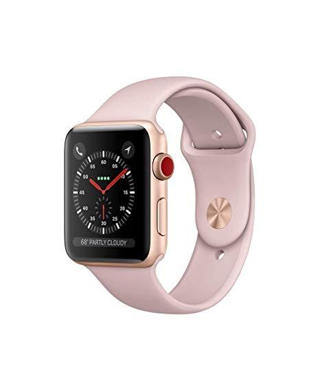 ArtMuseKitsMikash Apple Watch Series 3 42mm Smartwatch (GPS Only, Gold  Aluminum Case, Pink Sand Sport Band).