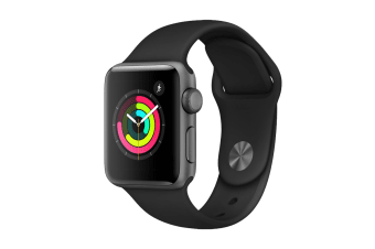 Apple Watch Series 3 (Space Grey, 38mm, Black Sport Band, GPS Only).