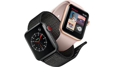 Apple Watch Series 3 4G boîtier 38 mm aluminium gris sidéral bracelet sport  noir.