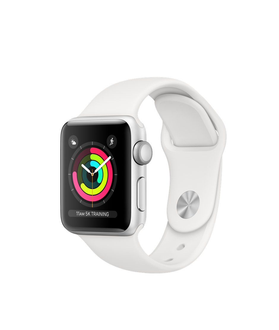 Apple Watch Series 3 GPS, 38mm Silver Aluminum Case with White Sport Band.