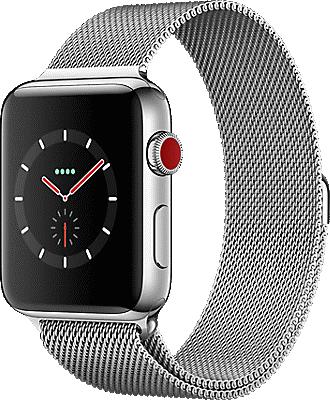 Apple® Watch Series 3 Stainless Steel 42mm Case with Milanese Loop.