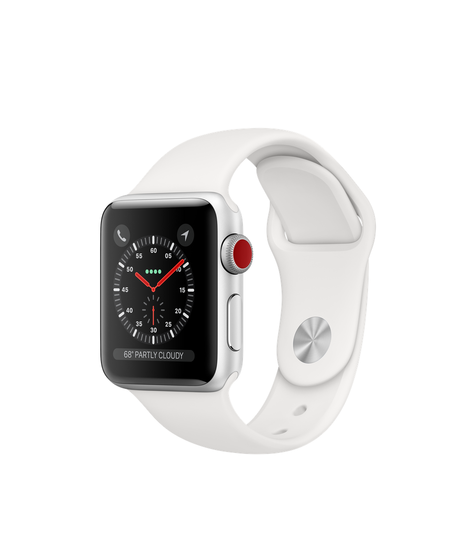 Apple Watch Series 3 GPS + Cellular, 38mm Silver Aluminum Case with White  Sport Band.