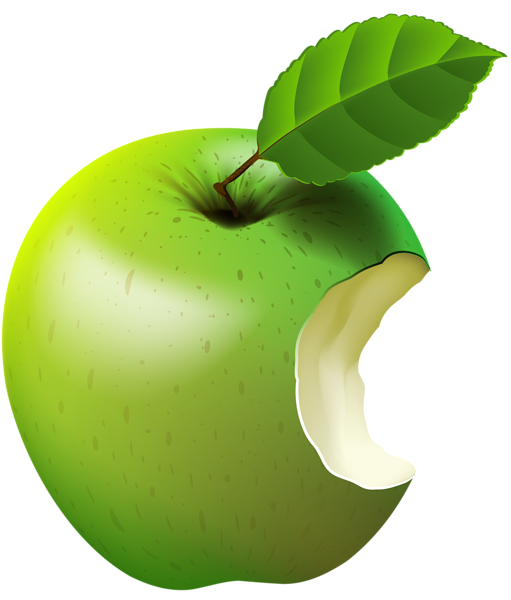 Bitten Apple Green Transparent Clip Art Image in 2019.