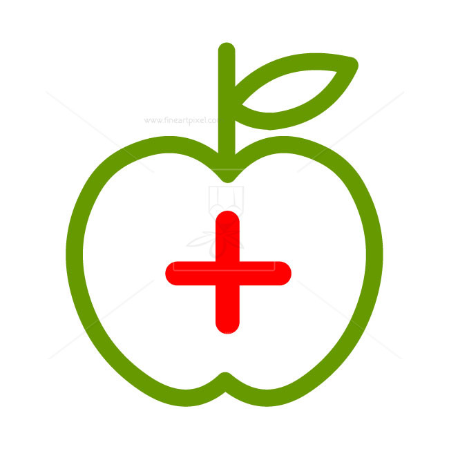 Apple with red cross.
