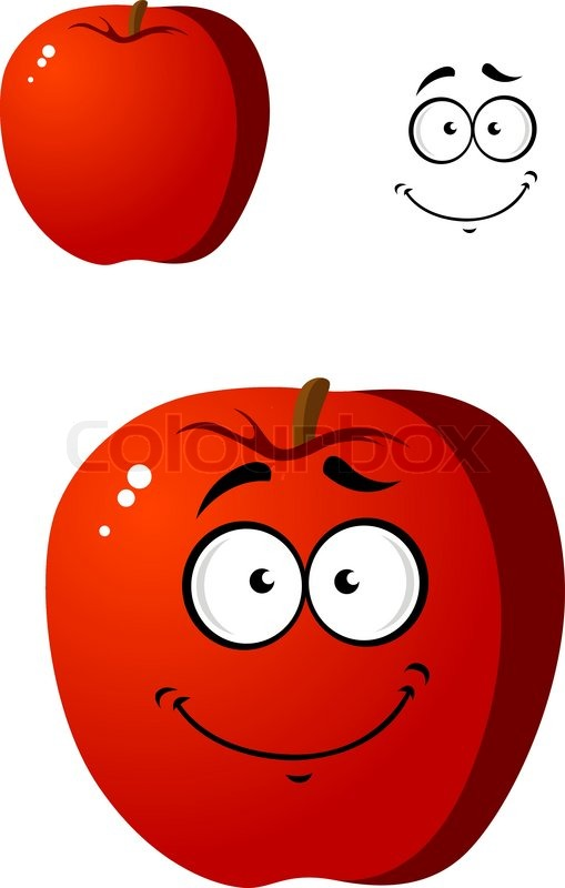 Cartoon smiling happy red apple fruit with cute squint eyes.