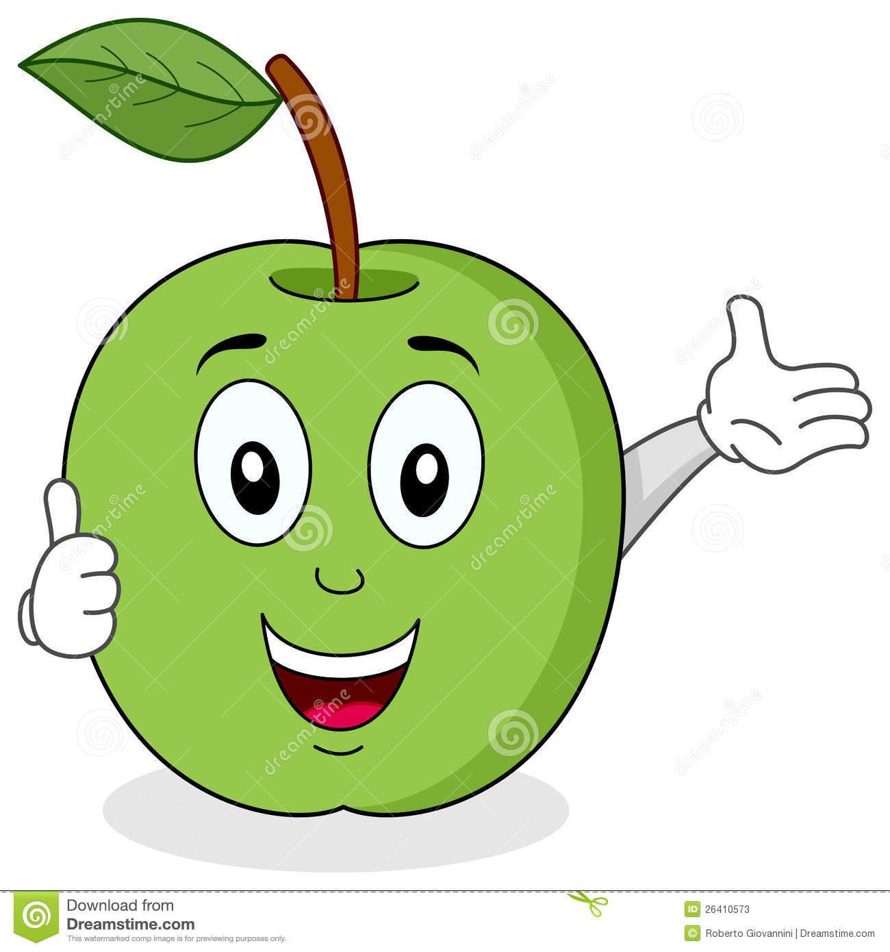 Green Apple Thumbs Up Character Stock Photos.