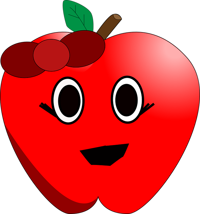 Free vector graphic: Apple, Red, Ribbon, Smile, Comic.