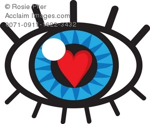 Clip Art Illustration of an Eye With a Heart of Love Reflection.