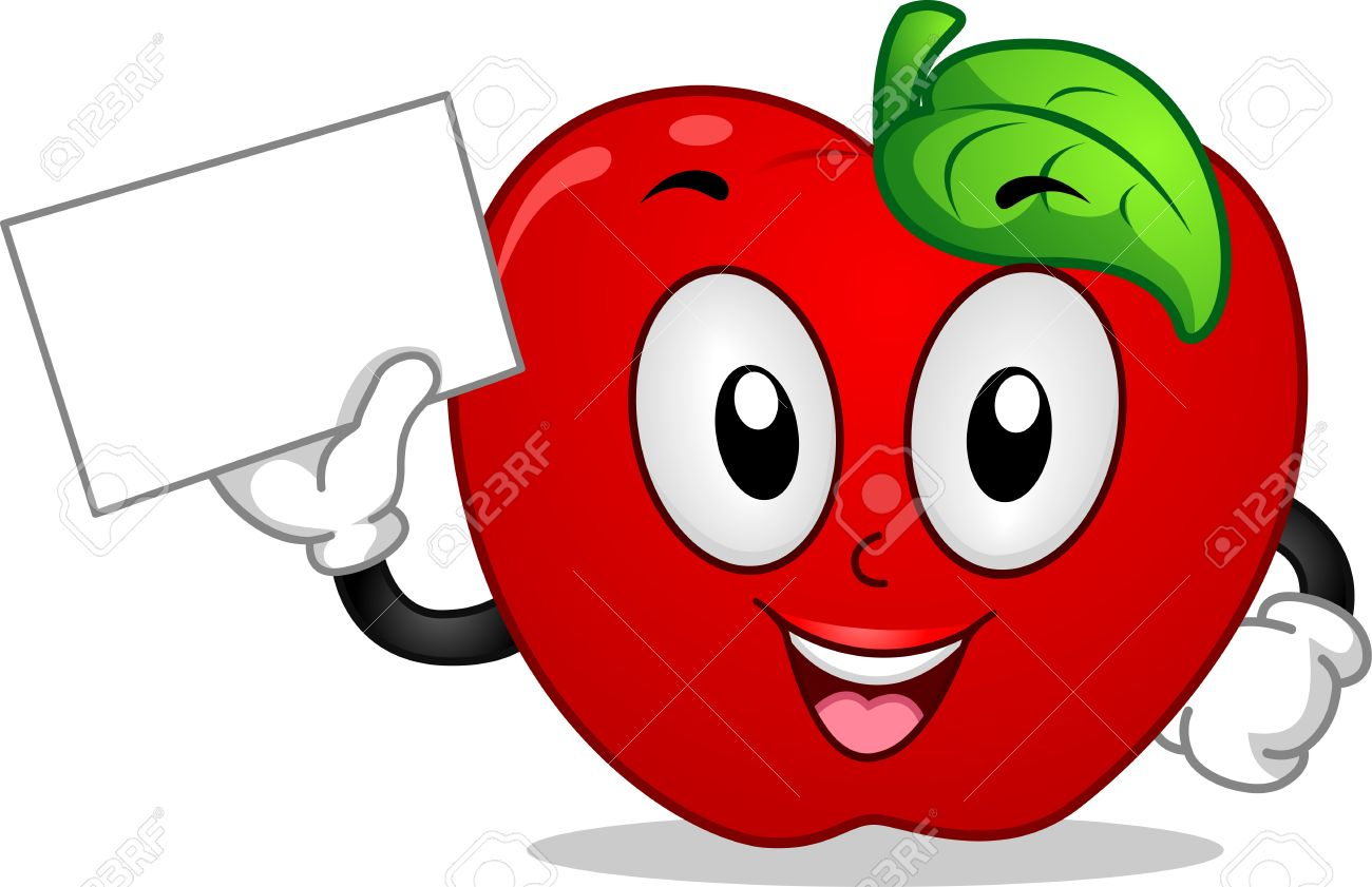 Mascot Illustration Featuring An Apple Holding A Blank Board Stock.