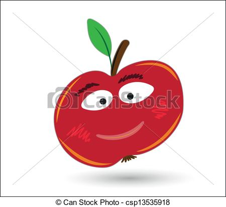 Vector Clip Art of red funny and smiling apple with eyes and mouth.