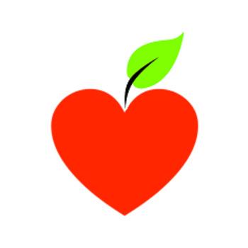 Clip Art: Heart Apple Image.